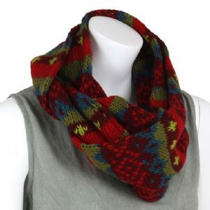 Hippy Scarf~ Winter Woolen Red and Green Snood Scarf and Hood~ By Folio Gothic Hippy NW18D